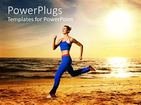 PowerPoint template displaying woman running on beach at sunset, fitness, exercise, health
