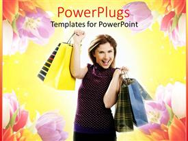 PowerPlugs: PowerPoint template with woman with shopping bags on yellow background with flowers, retail, e commerce