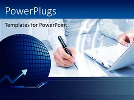 PowerPlugs: PowerPoint template with woman sitting at table with laptop and pen in right hand