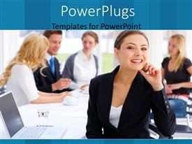 PowerPlugs: PowerPoint template with a woman smiling with an office in the background