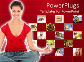 PowerPoint template displaying woman smiling as she does yoga with collage of fruits for diet