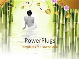 PowerPlugs: PowerPoint template with a woman after spa with a number of leaves