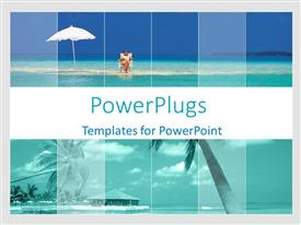 PowerPlugs: PowerPoint template with woman sunbathing on beach, palm trees