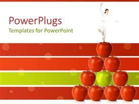 PowerPlugs: PowerPoint template with woman in tree modified yoga tree pose standing atop pyramid of red apples with one green apple in center