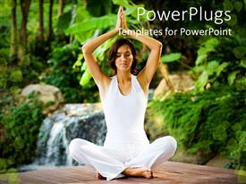 PowerPlugs: PowerPoint template with woman wearing white in meditative seated yoga pose