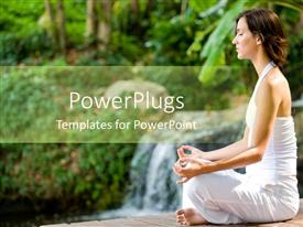 PowerPlugs: PowerPoint template with woman in white clothes doing yoga, woman sitting in yoga position, meditation, forest, trees