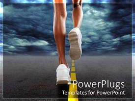 PowerPoint template displaying woman in white sneakers running along the highway with clouds