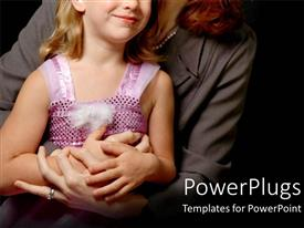 PowerPlugs: PowerPoint template with a woman wit a young girl holding hands on black background