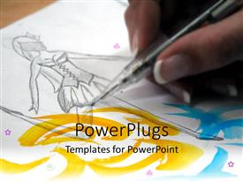 PowerPoint template displaying woman's hand drawing sketch of a ballerina, fashion technology, graphic design, art school