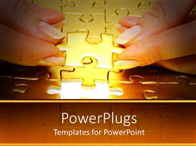 PowerPoint template displaying woman's hands putting final piece of jigsaw puzzle in place, problem solving