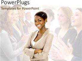 PowerPoint template displaying women in business with ladies applauding female executive