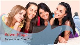PowerPoint template displaying beautiful young girls lay on white couch with laptop