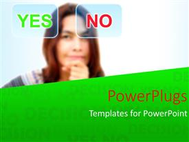 PowerPlugs: PowerPoint template with young lady faced with difficult choice between YES and NO