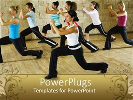 PowerPlugs: PowerPoint template with women in fitness class at gym with instructor, trainer, exercise