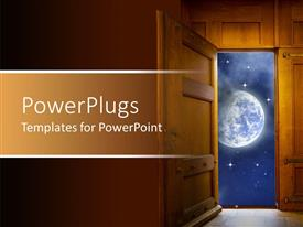 PowerPlugs: PowerPoint template with wood door opening to earth and stars, globalization metaphor