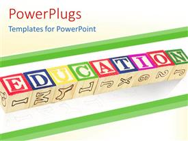 PowerPlugs: PowerPoint template with wooden blocks for kids with word education, letters and numbers