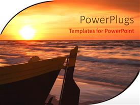 PowerPlugs: PowerPoint template with wooden boat anchored at sea shore with sunset over sea