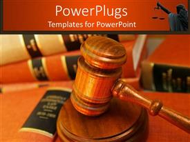 PowerPoint template displaying wooden brown  judge stick on a pile of books
