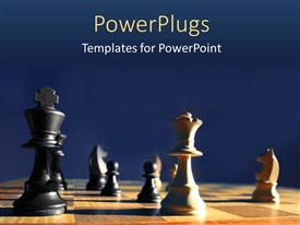 PowerPlugs: PowerPoint template with wooden chess board with chess pieces during a chess game