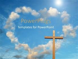 PowerPlugs: PowerPoint template with wooden cross with cloud forming heart shape in blue sky