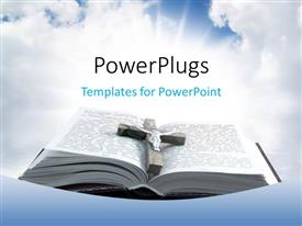 PowerPoint template displaying wooden cross with metal Jesus on open holy book