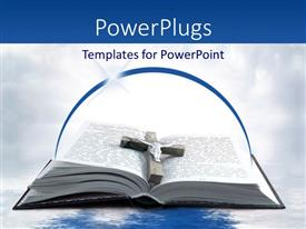 PowerPlugs: PowerPoint template with wooden cross and metal Jesus on open religious book