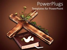 PowerPoint template displaying a wooden cross with plants and holy bible with dark brown background