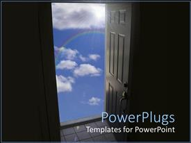 PowerPlugs: PowerPoint template with wooden door open to blue cloudy sky
