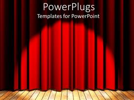 PowerPlugs: PowerPoint template with wooden floor stage and red curtain with show light for special event presentation