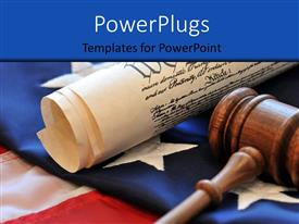 PowerPoint template displaying wooden gavel with American constitution on American flag