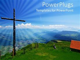 PowerPlugs: PowerPoint template with wooden grass in green field with blue cloudy sky overhead