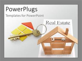 PowerPoint template displaying wooden house construction with a key over a real estate paper with grey color