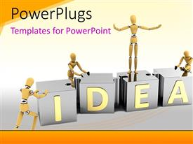 PowerPlugs: PowerPoint template with 3D men arrange large pieces of IDEA puzzle