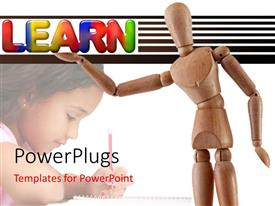 PowerPoint template displaying a wooden robot and a small kid with a text that spells out the word