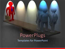PowerPlugs: PowerPoint template with wooden scale with three figures on one side and red figure holding suitcase on opposite side
