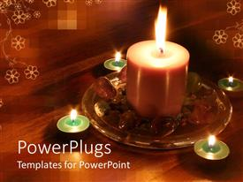 PowerPlugs: PowerPoint template with wooden table with white flowers with lighted candles and stones