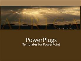PowerPoint template displaying word Africa back lit by sun through dark clouds