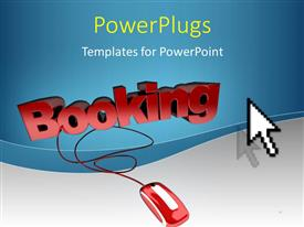 PowerPoint template displaying the word booking connected to a mouse with a bluish background