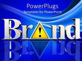 PowerPlugs: PowerPoint template with the word brand with bluish background