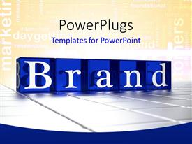 PowerPlugs: PowerPoint template with the word brand with yellowish background