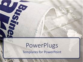 PowerPlugs: PowerPoint template with the word business with map of the Earth in the background