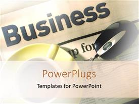 PowerPlugs: PowerPoint template with the word business with a mouse and a cup