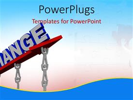 PowerPlugs: PowerPoint template with teamwork depiction as 3D men work to lift 3D change sign
