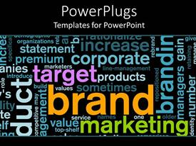 PowerPlugs: PowerPoint template with word cloud of Brand marketing corporate sector
