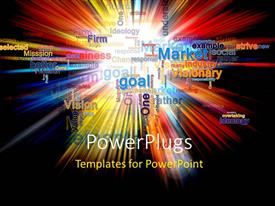 PowerPoint template displaying word cloud of business related words in various colors