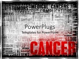 PowerPlugs: PowerPoint template with word cloud with cancer related terms in black and white with CANCER in red