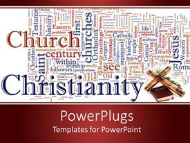 PowerPoint template displaying word cloud Catholicism and Christianity with cross and Bible