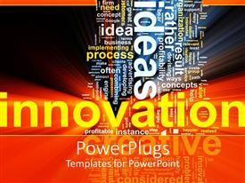 PowerPoint template displaying word cloud for innovation process with shiny effects