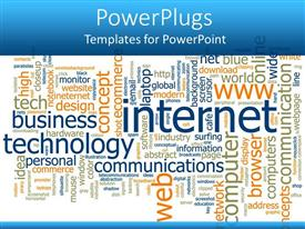 PowerPoint template displaying word cloud with words related to internet technology business