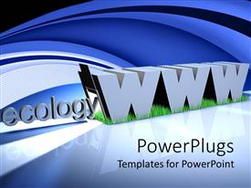 PowerPlugs: PowerPoint template with the word ecology with bluish background